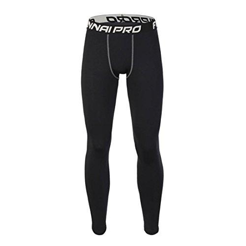 Overdose,Leggings De Course Homme Collant Skinny Running Jogging Trousers Yoga Sportwear (M, Noir)