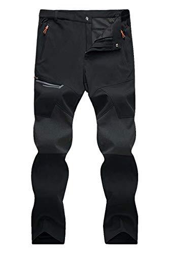 Men's Sweatpants Quick Dry Walking Pants Outdoor Stretchy Gym Fitness Pants Men Windproof Softshell Summer Pants Black