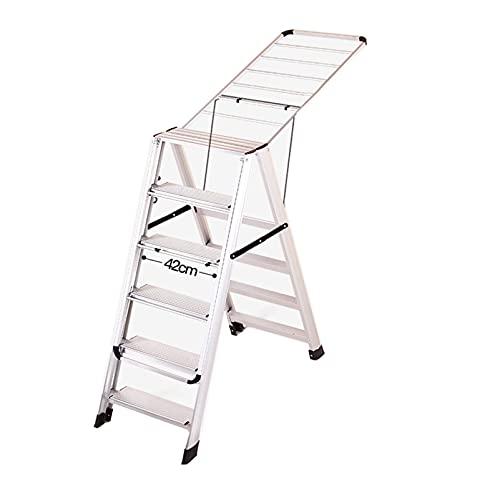 GaoF Artículos para el hogar Escalera Plegable de Aluminio, Rejilla de Secado Multiusos escaleras retráctiles, balcón de la casa Escalera de Trabajo Antideslizante Rejilla de Secado 2 en 1