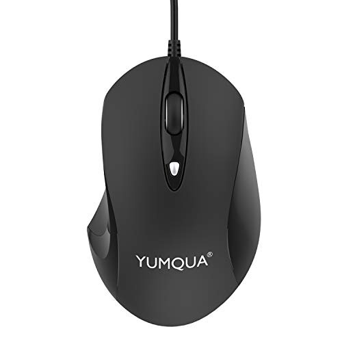 YUMQUA G189 USB Wired Mouse, Office & Home Optical Ergonomic Computer Mouse with 4 DPI Levels(Up to 1600) for Laptop Chromebook MacBook Notebook PC Desktop