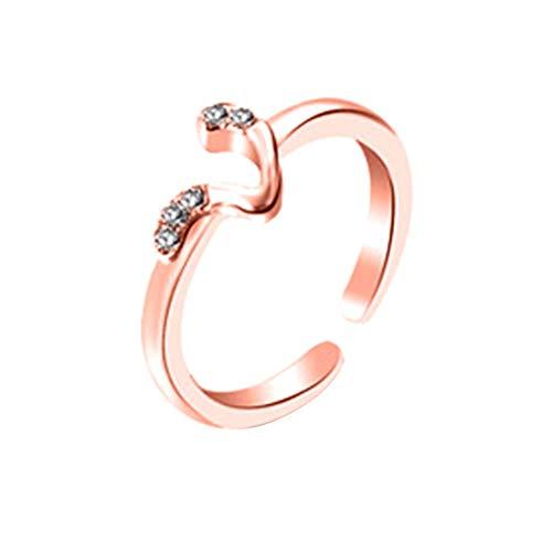 Acamifashion - Anillo de dedo elegante con 26 letras de diamantes de imitación incrustados en forma de V, oro rosa