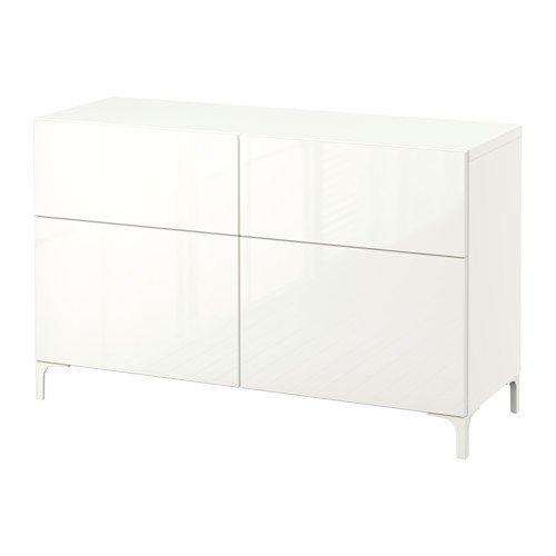 IKEA Storage Combination w Doors/Drawers, White, Selsviken high-Gloss/White 18382.262614.1618