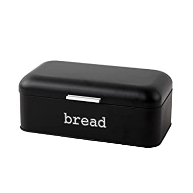 Bread Box for Kitchen Counter - Stainless Steel Bread Bin Storage Container For Loaves, Pastries, and More - Retro / Vintage Inspired Design, Matte Black, 16.75 x 9 x 6.5 inches