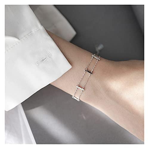tggh Pulsera de mujer Crysral doble capa geométrica encanto pulsera y brazalete para mujer boda