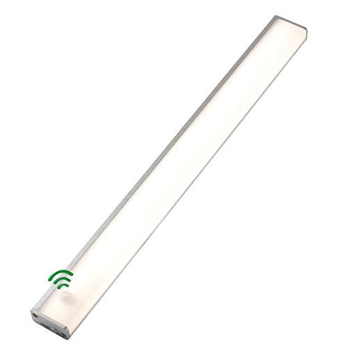 Bewegungsmelder-Lichter für den Innenbereich, 4000 K, 40 cm, Bewegungsmelder, Schrank-Licht, Küche, kabellos, wiederaufladbar, LED-Streifen, 3 Modi (Silber, Naturweiß)