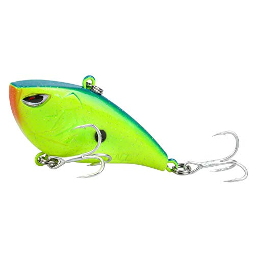 RUNCL ProBite Lipless Crankbait Chartreuse Blue, Vibe Cranks, Hard Fishing Lures - Lifelike Design, Loud Rattles, Precise Weighting System, Tight Wobble Action - Fishing Plug (1/2oz)