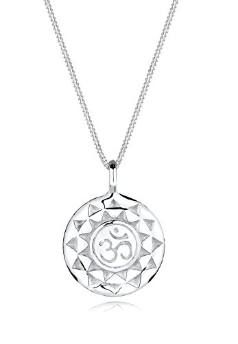 Elli Women Genuine Jewellery Necklace Chain with Pendant Cross Yoga Mantra Om Symbol Of Protection 925 Sterling Silver Length 45 cm