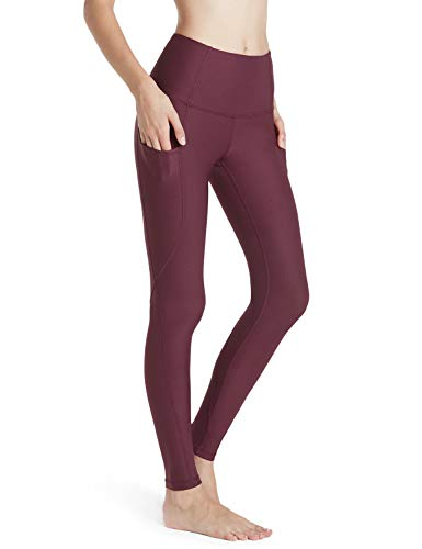 TSLA High Waist Yoga Pants with Pockets, Tummy Control Yoga Leggings, Non See-Through 4 Way Stretch Workout Running Tights, Ankle Aerisupport(fgp54) - Dark Plum, Large