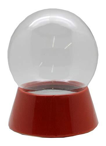 Snowglobe for you 40037-150mm-Do-it-Yourself Schneekugel mit Glaskugel und Porzellansockel rot für Einbau Spieluhr