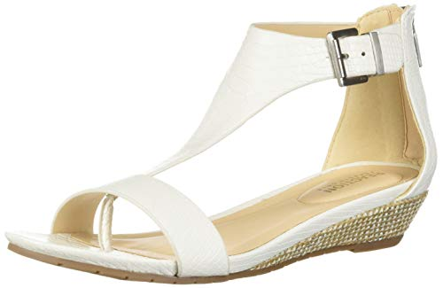 Kenneth Cole REACTION Women's Gal T-Strap Wedge Sandal, White, 6.5