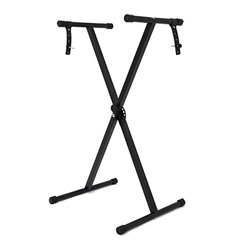 Adjustable X-Style Music Keyboard Stand Foldable Classic Keyboard Stand Musician Electronic Piano Organ 7 Position Metal Braced Rack Locking Straps Rubber Feet
