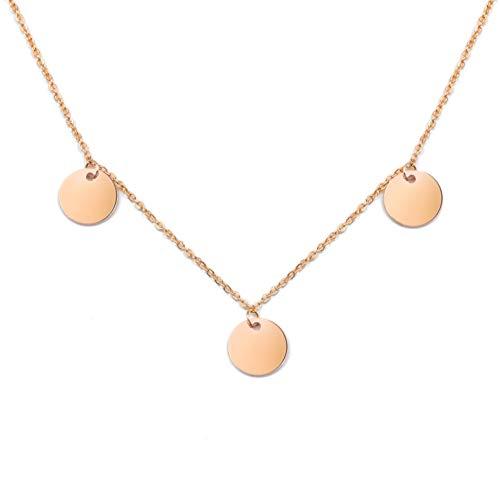 SHINE & WANDER 3 Coin Necklace | Damen Edelstahl Halskette mit 3 Plättchen in Gold, Silber Roségold | verstellbar (Roségold)