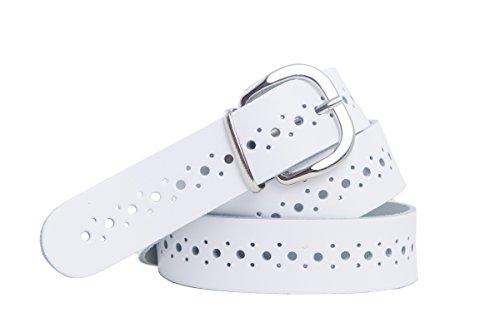 shenky - Cinturón de cuero perforado - 3 cm de ancho - Blanco - Cintura de 105 cm