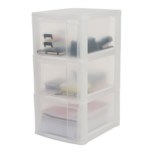 Iris Ohyama,  Torre de almacenamiento sobre ruedas con 3 cajones -  New Media Chest -  NMC- 303,  plástico,  raso blanco / transparente de 30 x 38 x 67 cm