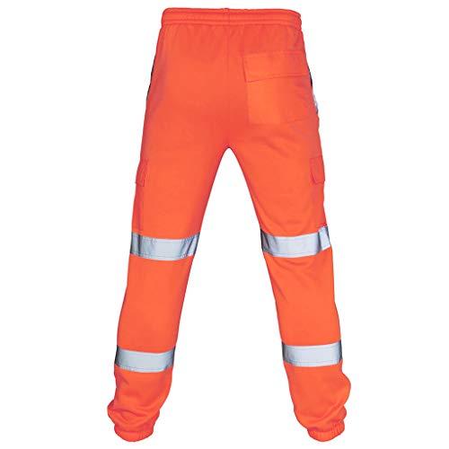 Yowablo Hosen Herren Straßenarbeiten Warnschutzanzüge Lässige Taschenarbeit Freizeithose (XL,Orange)
