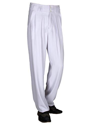 Herren Bundfaltenhose Weiß mit Extra Weit geschnittenen Beinen, Fifties Style Männer Hosen, Boogie Style Größe 56