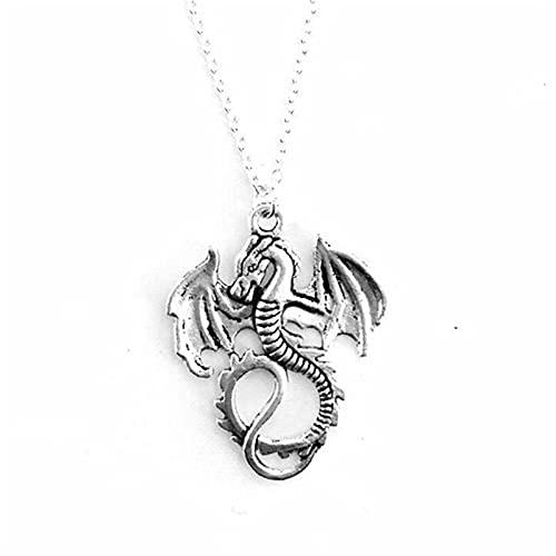 """YANGYUE Dragon Mecklace Mythical Winged Dragon Charm Colgante Collar 18""""Cadena Fantasía Joyería de Cuento de Hadas"""