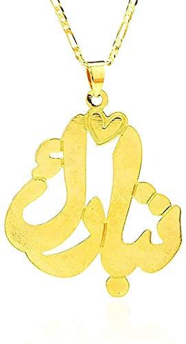ZJJLWL Co.,ltd Collar con Colgante de Alá Collar Unisex de Color Dorado joyería islámica Grande joyería Musulmana árabe Unisex Collar de 45Cm de Longitud de Oriente Medio