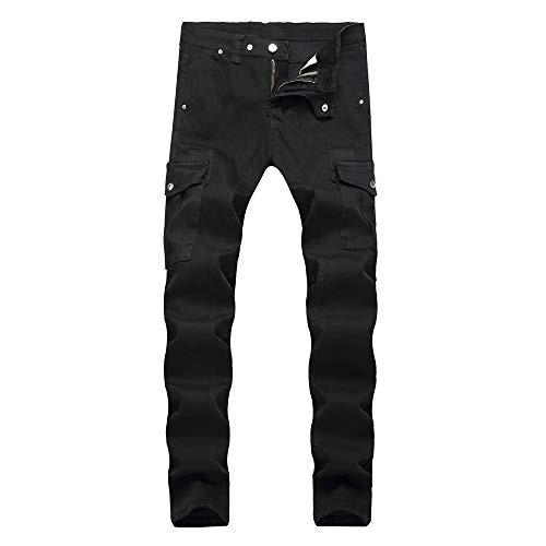 CFWL Schwarze Multi Pocket Jeans 30 Herren Military Hosen Herren Fitness Hosen Herren Lang JoggJeans Kurze Hosen Herren Yoga Hosen Herren Herren Kleidung Hosen HosengrößE Tabelle Herren Marken