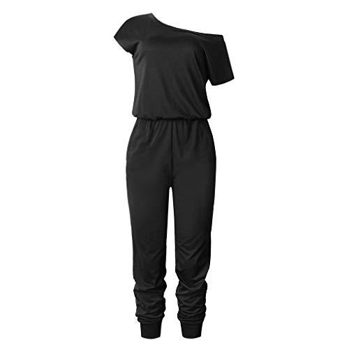 Floridivy Vrouwen Girl Oblique Schouder Jumpsuit effen kleur met korte mouwen polyester bodysuit, Vrouwen Lange Bodysuit