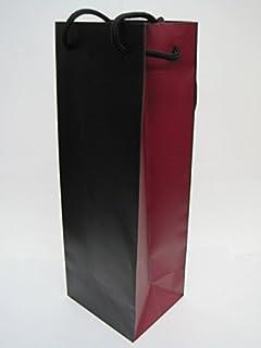 高級ワイン手提げ袋 (エンジと黒のツートン) 720ml・750ml・900mlサイズ用 ■トール瓶タイプの洋酒・和酒などにもOK
