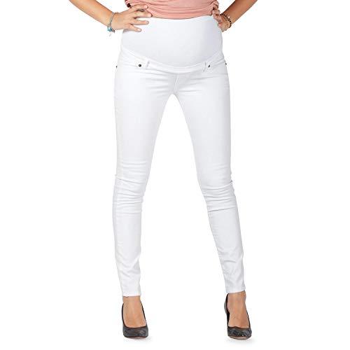 Pantalón Premamá Corte Slim Impecable, Material Elástico y Suave - Made in Italy (38, Blanco)
