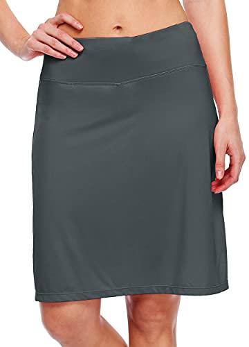 "Willit Women's 20"" Knee Length Skorts Skirts Tennis Athletic Golf Skirts Modest Sports Casual Skorts Pocket UV Protection Deep Gray XL"