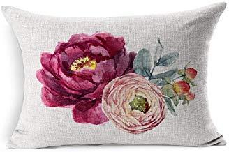 DarrenOw02 - Fundas de cojín rectangulares de eucalipto Rosa con diseño de Hojas y Flores de peonía, 40 x 61 cm, para decoración de salón o sofá