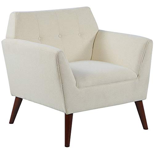 HOMCOM Traditional Living Room Chair, Armchair with Button Tufted Polygonal Straight Back, Single Sofa with Thick Padding, Beige