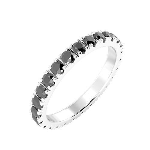 BuyFineDiamonds - Anello a veretta Full Eternity in oro bianco, con micro pavé di diamanti di colore nero da 1,50 ct e Oro bianco, 48 (15.3), cod. FDR0278.2