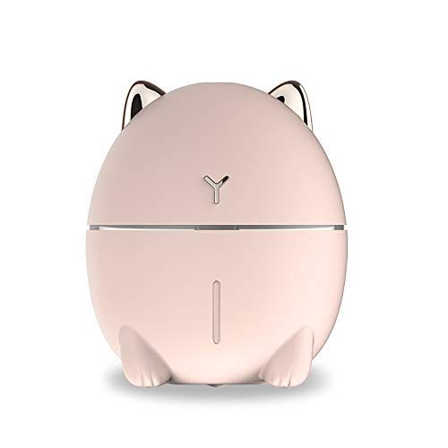 Tobnone Cat Humidifiers with Night Led, Mini Cool Mist Humidifier 200ml USB Portable Air Diffuser, Auto Shut-Off, Best Gift for Christmas, for Bedroom, Baby, Travel, Desktop, Home, Office,Car (Pink)