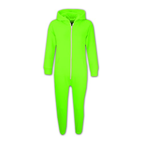 Kids Girls Boys Plain Color Fleece Hooded Onesie All in One Jumpsuit 5-13 Years Neon Green