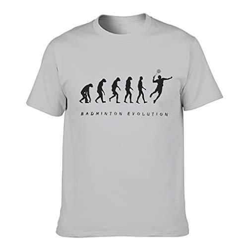 Men's Badminton Evolution Cotton T-Shirt - Classic Shirt - Grey - L
