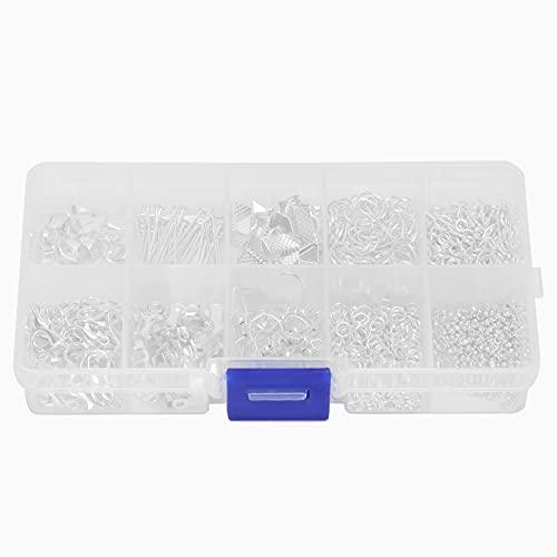 Kit de fabricación de joyas, accesorios para hacer pendientes de joyería, manualidades para hacer bricolaje, broche de langosta, conjunto de ganchos para pendientes(plata)