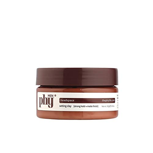 Phy Headspace Setting Clay - Strong Hold, Matte Finish - For All Hair Types | With Natural Plant Extracts - Synthetic Polymer free - No Sulphates, Parabens & Silicones | 100 ml