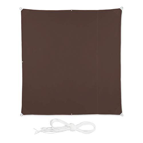 Relaxdays, Marrón, Toldo Vela Cuadrado, Impermeable, Protección Rayos UV, con Cuerdas para tensar, 2 x 2 m