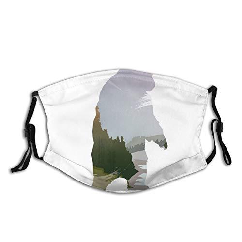 Mundschutz Atmungsaktive Gesichtsmundabdeckung Staubdichter,Wild Animals of Canada Survival In The Wild Theme Hunting Camping Trip Outdoors,Gesichtsdekorationen