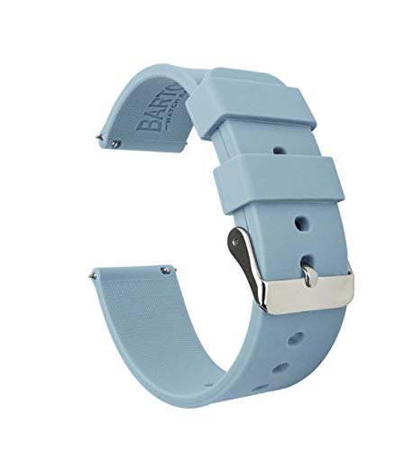 22mm Soft Blue - BARTON Watch Bands - Soft Silicone Quick Release Straps