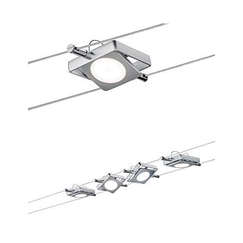 Preisvergleich Produktbild Paulmann 501.08 Seilsystem MacLED Set erweiterbar Tageslichtweiß 4x4W Chrom matt Dimmbar Tunable white LED 50108 Seilleuchte Hängeleuchte