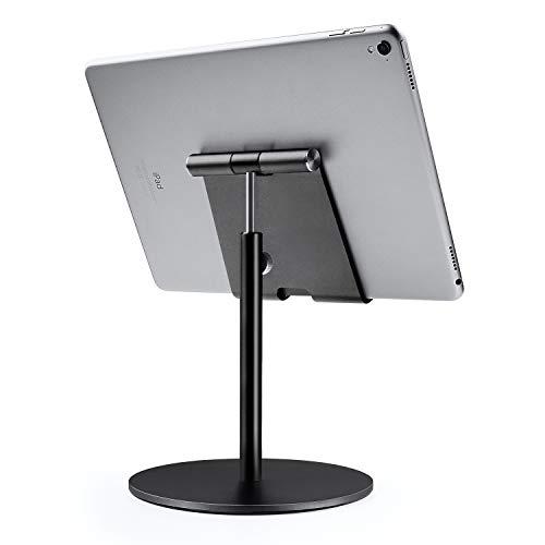 Tablet Ständer, Große Höhenverstellbare Aluminium Halterung, 360° Drehbar Tisch Tablet Halter Kompatibel mit iPad, Samsung Tab, Kindle, Nintendo Switch (4-13 Zoll) (Schwarz)