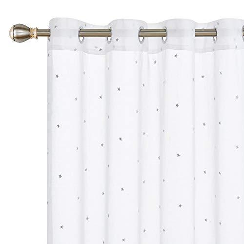 cortinas blancas con estrellas gris