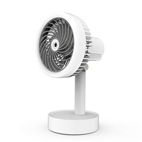 Schudden Het Hoofd Bevochtigen Elektrische Ventilator, Eenvoudige USB Desktop Spuiten Kleine Ventilatoren Ingebouwde 1200 Mah Batterij Voor Studentenflat Kantoor [Energy Class A],White
