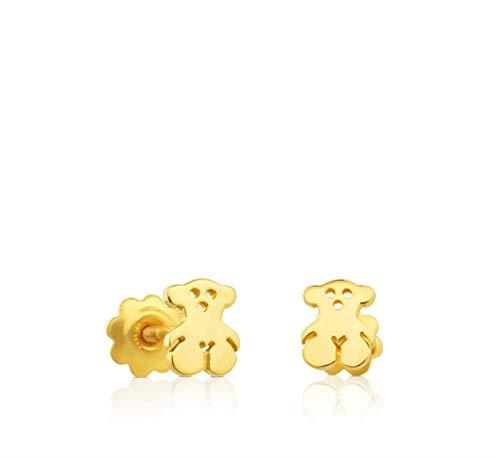 TOUS Pendientes Bear de niña y baby en oro amarillo de 18kt con cierre rosca, Tamaño 0,5 cm