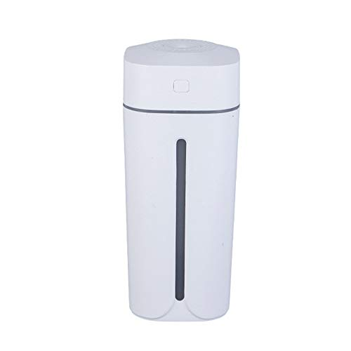 Mini USB Humidifier with 7-Colors Light, Two Spray Mist, Auto Shut-Off, Super Quiet, Small Personal Humidifier and Portable Desktop Humidifier for Travel Office Car Baby Bedroom (White)