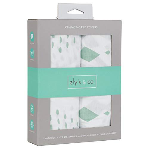 "Cradle Sheets Changing Pad Cover - Travel Lite Universal Fit Baby Mattress Sheet 36"" X 18 - Unisex Grey Sage Diamond - 2 Pack Set"