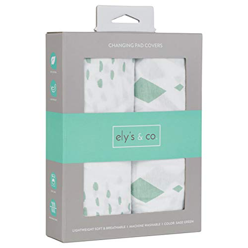 Changing Pad Cover Set I Cradle Sheet Set  2 Pack 100% Jersey Cotton Unisex Sheets for Baby Girl and Baby Boy  Sage Green Diamond Design by Ely#039s amp Co