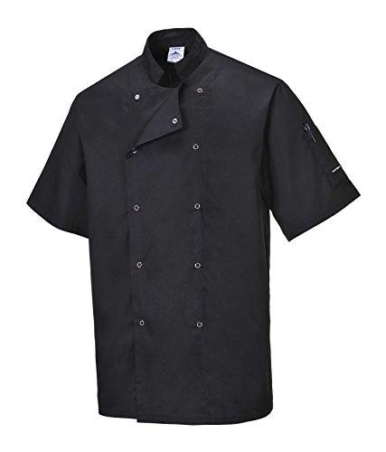 Portwest Cumbria, Kochjacke Kurzarm, Kochbekleidung, Gastronomie, Bäcker, weiß/schwarz, (XXL, schwarz)