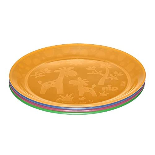 NIP children's plate for toddlers and babies, with cute motif, BPA-free, Made in Germany, set of 4, from 6 months