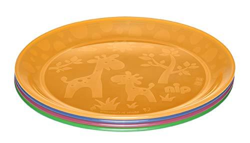 NIP Kinderteller für Kleinkinder und Babys, mit niedlichem Motiv, BPA-frei, Made in Germany, 4er Set, ab 6 Monaten