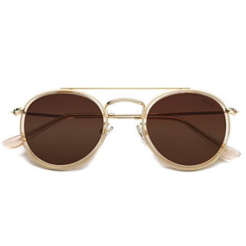 2018 Moda Gafas de sol,Nuevo Gafas de ojo de gato,Twin-Beams Cl/ásico Gafas de sol de espejo con marco de metal,Gafas al aire libre para Mujeres,KanLin1986